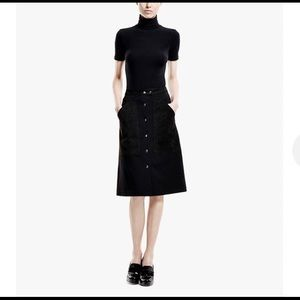 Theory Ponte Jersey and Suede Details Skirt EUC